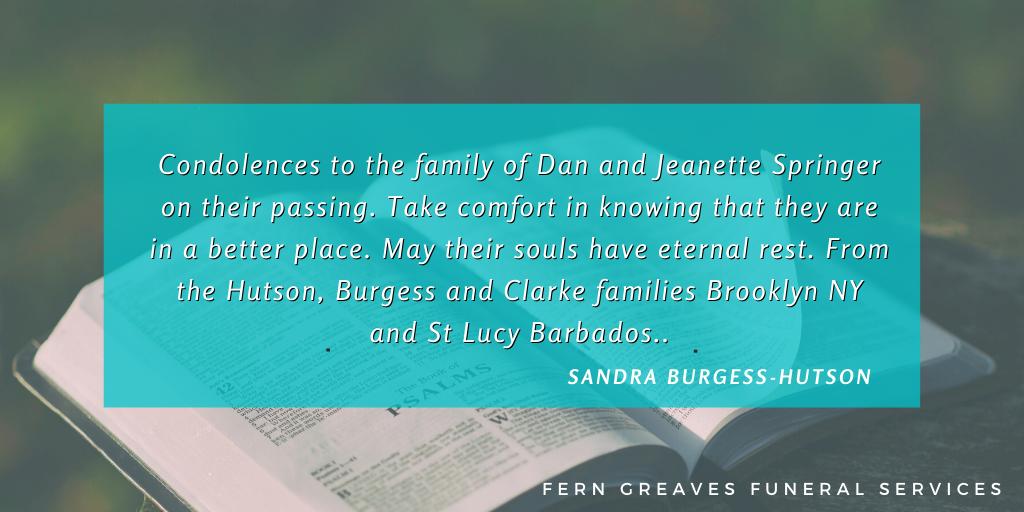 Condolences - Dan & Jean Springer - 4
